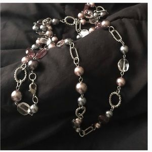 Jewelry - Beaded Silver-tone Necklace with pink beads